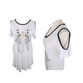 Lava Exposed Shoulder Short Sleeve Tee with Elephant print