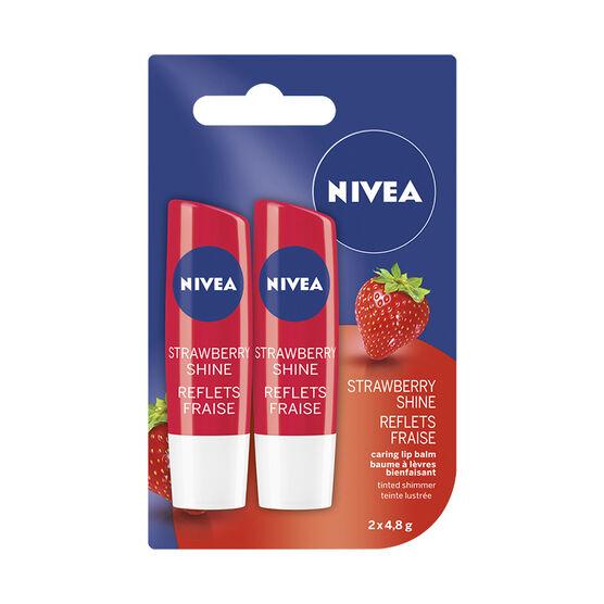 Nivea Tinted Shimmer Lip Balm - Strawberry Shine - 2 x 4.8g