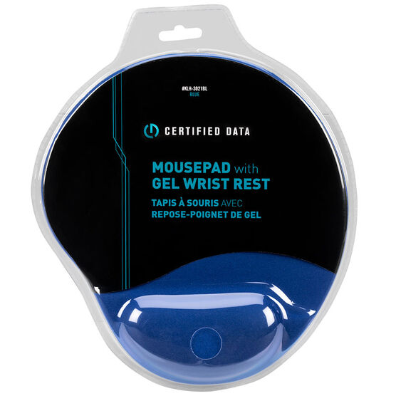 Certified Data Mousepad with Gel Wrist Rest - Blue - KLH-3021BL