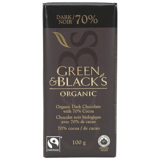 Green & Black's Organic Chocolate - 70% Dark - 100g