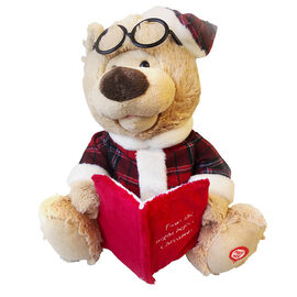 Animated Sitting Bear Reading a Book - 25cm