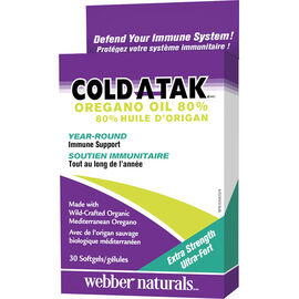 Webber Naturals Cold-A-Tak Oregano Oil Softgels - Extra Strength - 30's