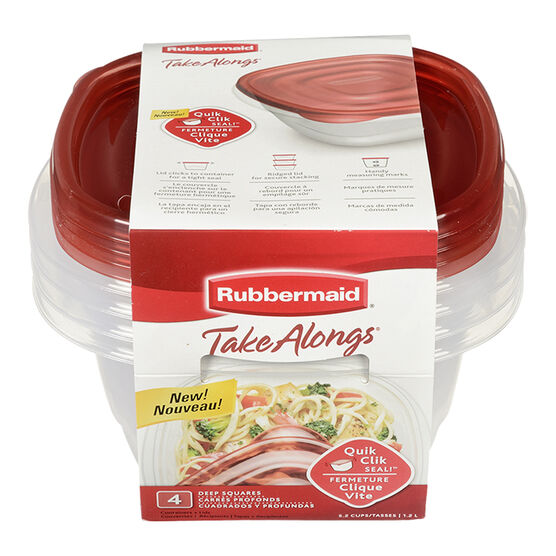 Rubbermaid TakeAlongs Deep Square Containers - Assorted - 4 x 1.2L