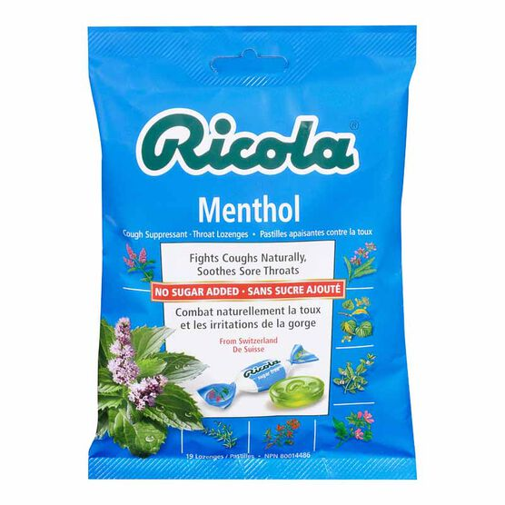 Ricola Cough Suppressant Throat Lozenges - Menthol No Sugar Added - 75g