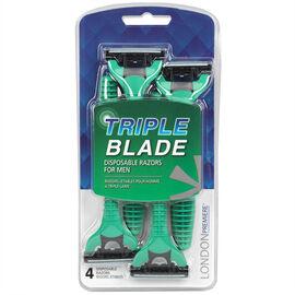 LONDON Premiere Triple Blade Disposable Razors for Men - 4's