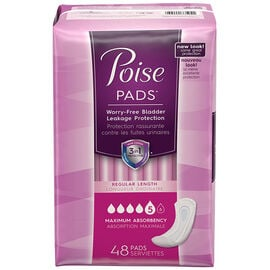 Poise Pads Maximum Absorbency - Regular Length - 48's