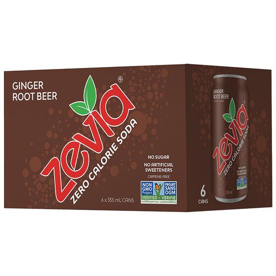 Zevia Soda - Ginger Root Beer - 6 x 355ml