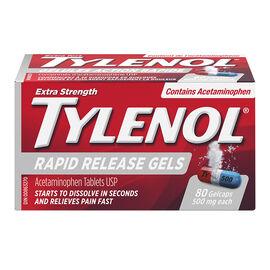 Tylenol Extra Strength Rapid Release Gels Acetaminophen - 500mg Gelcaps - 80's
