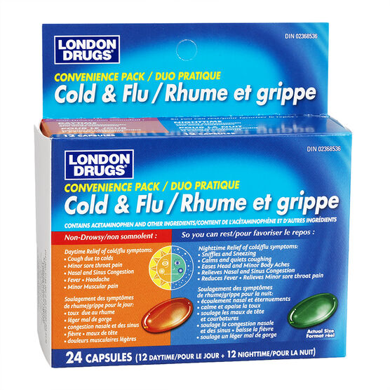 London Drugs Daytime & Nighttime Cold & Flu Convenience Pack - 12 + 12 liquid capsules