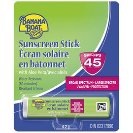 Banana Boat Sunscreen Stick Aloe Lip Balm - SPF45 - 4.2g