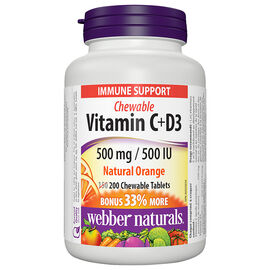 Webber Naturals Vitamin C 500mg + D3 500IU Chewable, Natural Orange