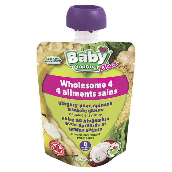 Baby Gourmet Ginger Pear Spinach Whole Grains - 128ml