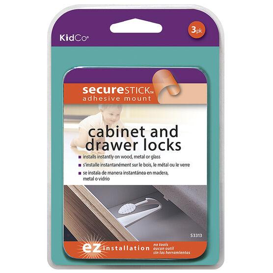 KidCo Adhesive Cabinet and Drawer Locks - 3 pack - S3313