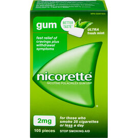 Nicorette Nicotine Gum Stop Smoking Aid - Ultra Fresh Mint - 2mg - 105's