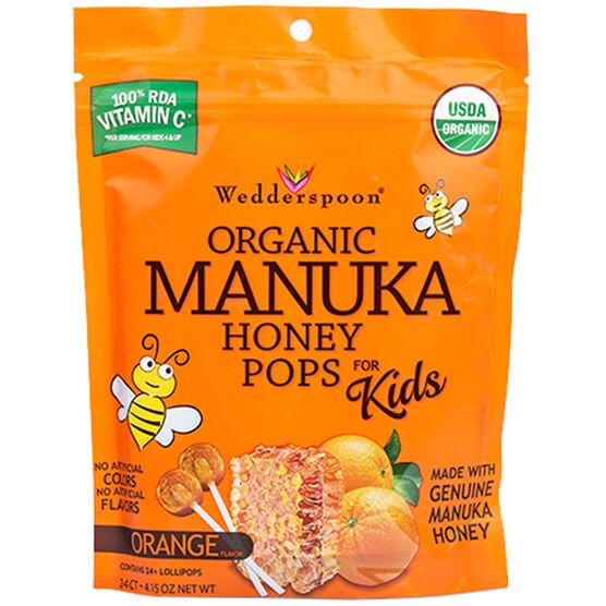 Wedderspoon Organic Manuka Honey Pops for Kids - Orange - 24's
