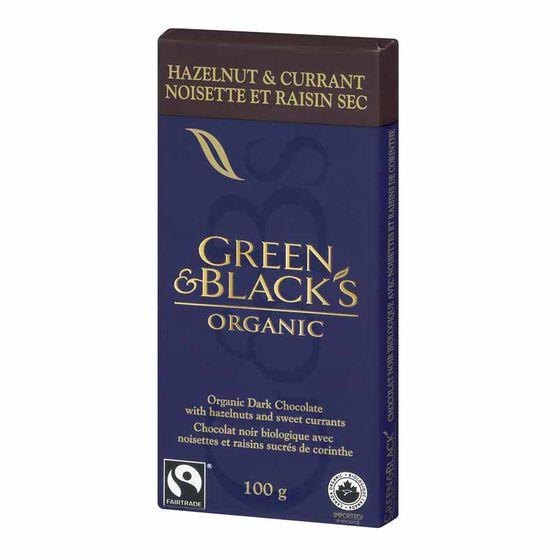 Green & Black's Organic Chocolate Bar - Hazelnut & Currant -  100g