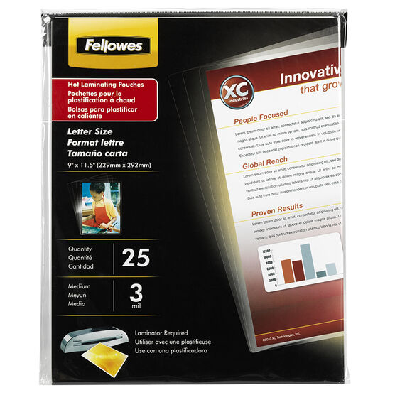 Fellowes Glossy Pouches - Letter - 3 mil - 25 pack