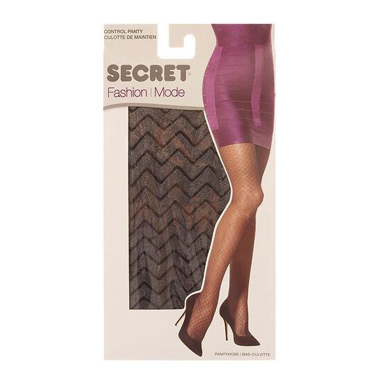 Secret Fashion ZigZag Pantyhose - Black - C/D