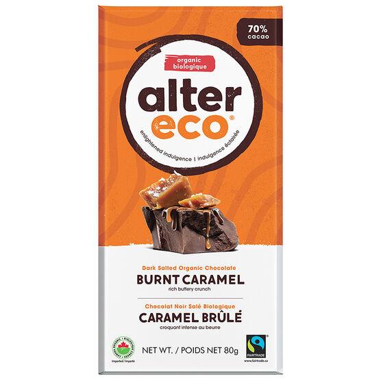 Alter Eco Dark Salted Organic Chocolate Bar - 70% Cacao - Burnt Caramel - 80g