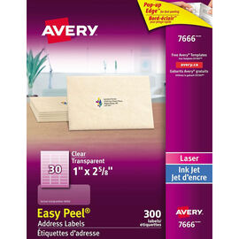 Avery Easy Peel Address Labels - Glossy Clear - 300's - 7666