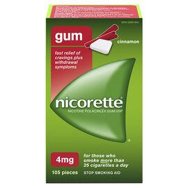 Nicorette Nicotine Gum Stop Smoking Aid - Cinnamon - 4mg - 105's