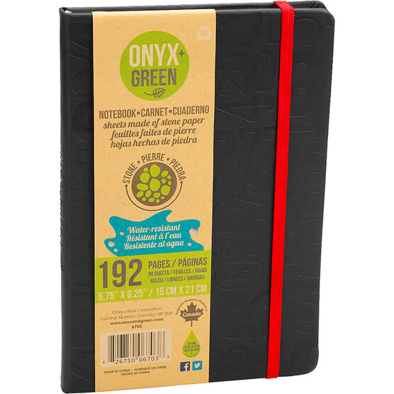Onyx + Green Water-Resistant Hardcover Notebook - 192 pages