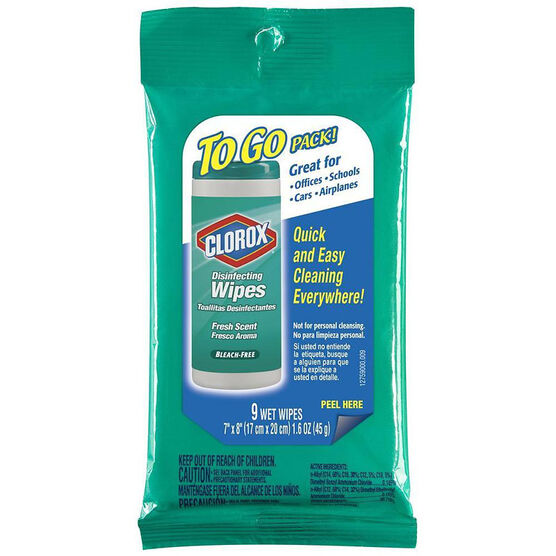 Clorox To Go Disinfecting Wipes - Fresh Scent - 9's