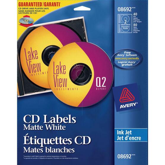Avery Matte White CD Labels for Inkjet Printers -  40 labels