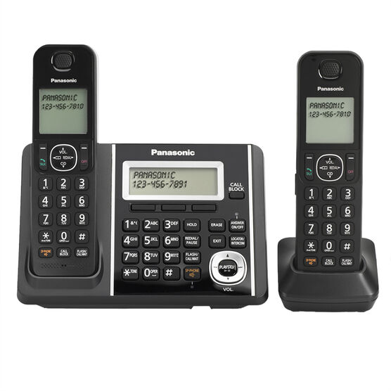 Panasonic DECT 6.0 2-Handset Dual Keypad with Cordless Answering System- Black - KXTGF342B