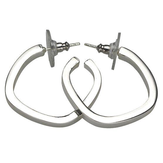 Haskell Silver Squared Hoop Earrings