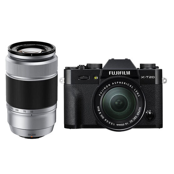 Fuji X-T20 with XC 16-50mm and XC 50-230mm Lens - Black/Silver - PKG #56010