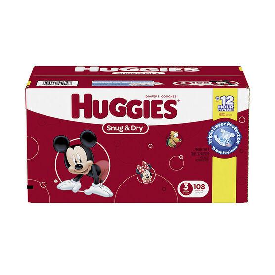 Huggies Snug & Dry Diapers - Size 3 - 108's