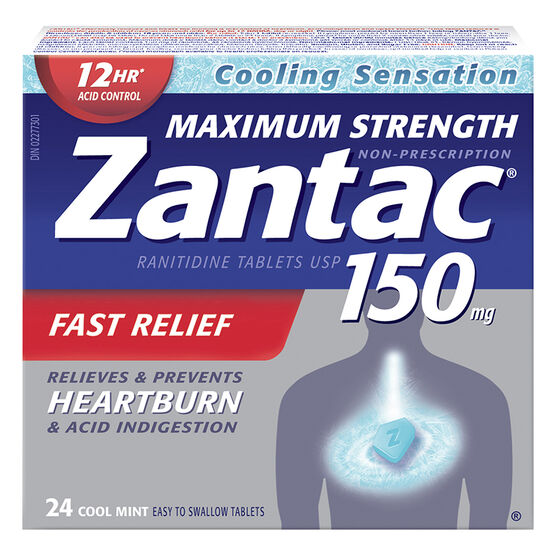 Zantac 150 Tablets - Cool Mint - Maximum Strength - 24's