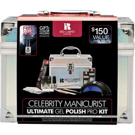 Red Carpet Manicure Holiday 2018 Celebrity Manicurist Holographic Train Case & Pro Kit