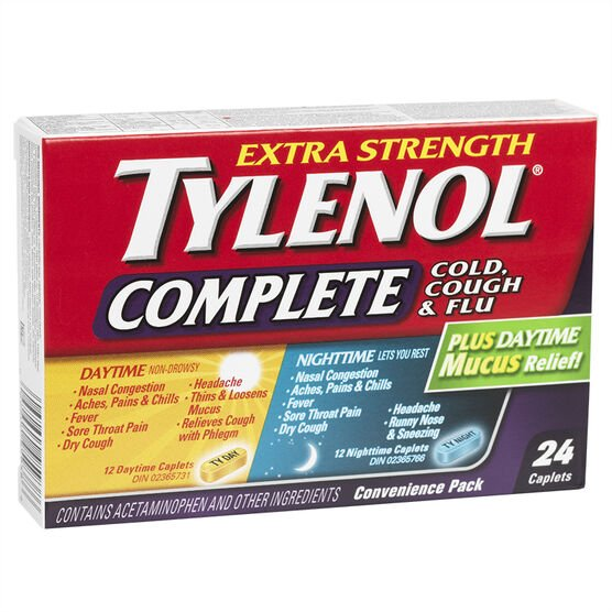 Tylenol* Complete Day/Night Cold, Cough & Flu Plus Daytime Mucus Relief - 24's