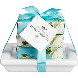 Floral Bouquet Peony Carousel Soap Dish Set - Blue - 3 piece