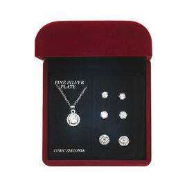 Danecraft Cubic Zirconia Jewelry Box Set - Circle Halo