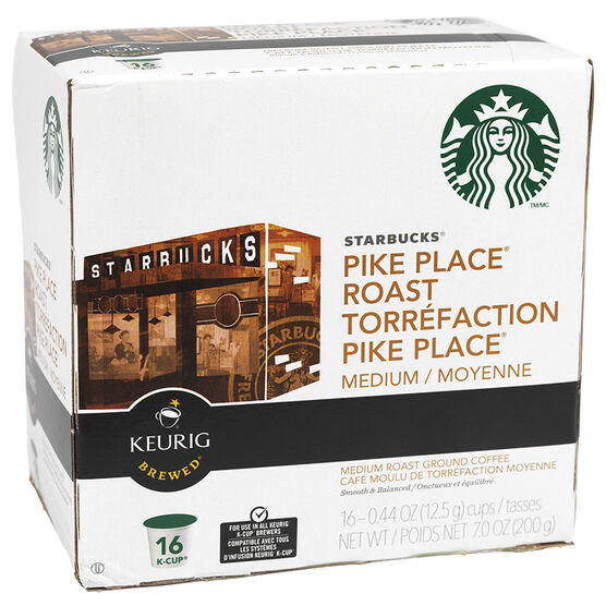 K-Cup Starbucks Coffee Pods - Pike Place Roast - 16's