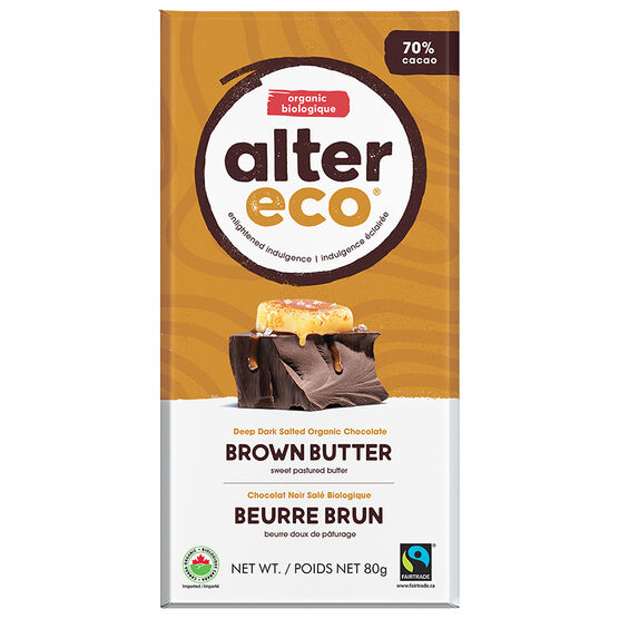 Alter Eco Dark Salted Organic Chocolate -70% Cacao - Brown Butter - 80g