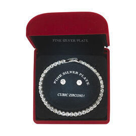 Danecraft Cubic Zirconia Bracelet & Earrings Box Set