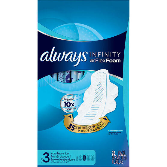 Always Infinity Pads Size 3 - Extra Heavy Flow - 28's