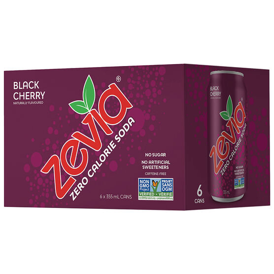 Zevia Soda - Black Cherry - 6 x 355ml