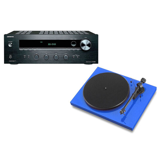 Pro-Ject Debut III Manual Turntable - Blue + Onkyo Stereo Receiver -PKG #17368