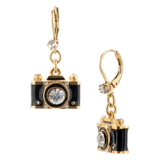Betsey Johnson Camera Drop Earrings - Black & Gold Tone