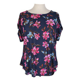 Lava Printed Short Sleeve Blouse - Fuschia