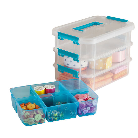 Sterilite Stack & Carry Box - 3 Layers and Handles - Clear/Blue