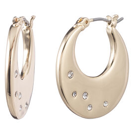 Anne Klein Pave Flat Hoop Moon Earrings - Gold Tone