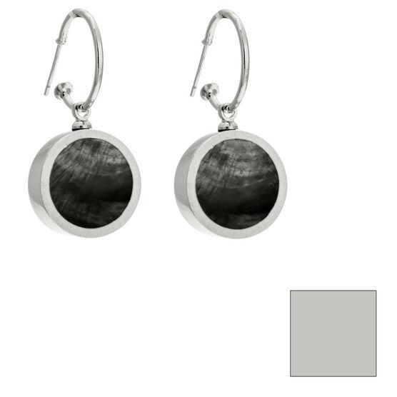 Merx Reversible Circle Resin Shell Drop Earrings - Charcoal/White