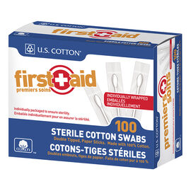 First+Aid Sterile Cotton Swabs - 100's