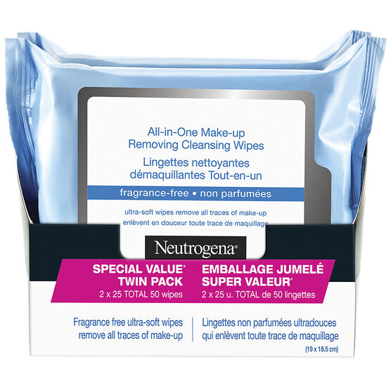 Neutrogena All-In-One Make-Up Removing Cleansing Wipes - Fragrance Free - 2 x 25's